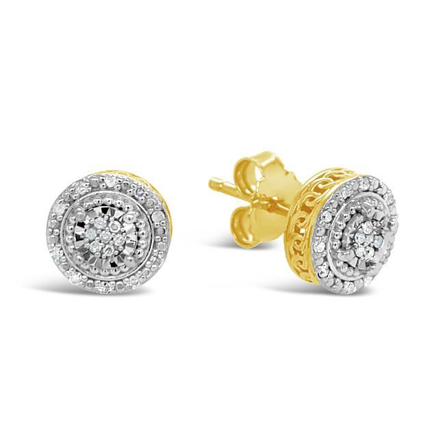 1/10 Carat Diamond Halo Earrings in Yellow Gold-Plated Sterling Silver
