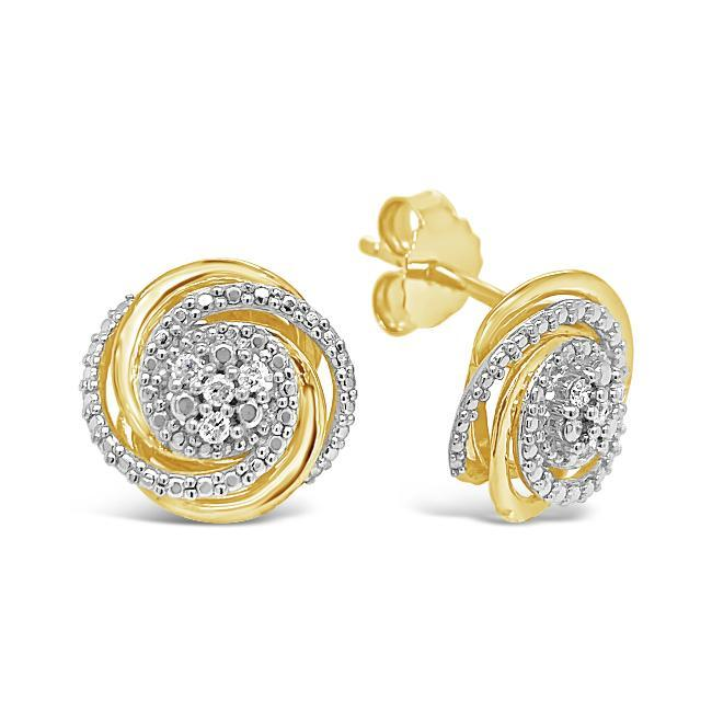 Diamond Accent Swirl Stud Earrings in Yellow Gold-Plated Sterling Silver