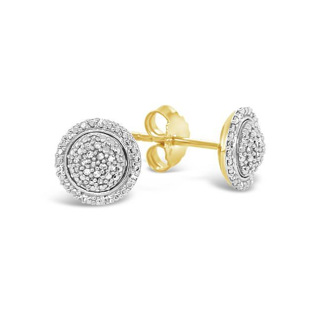 1/10 Carat Diamond Dome Stud Earrings in Yellow Gold-Plated Sterling Silver