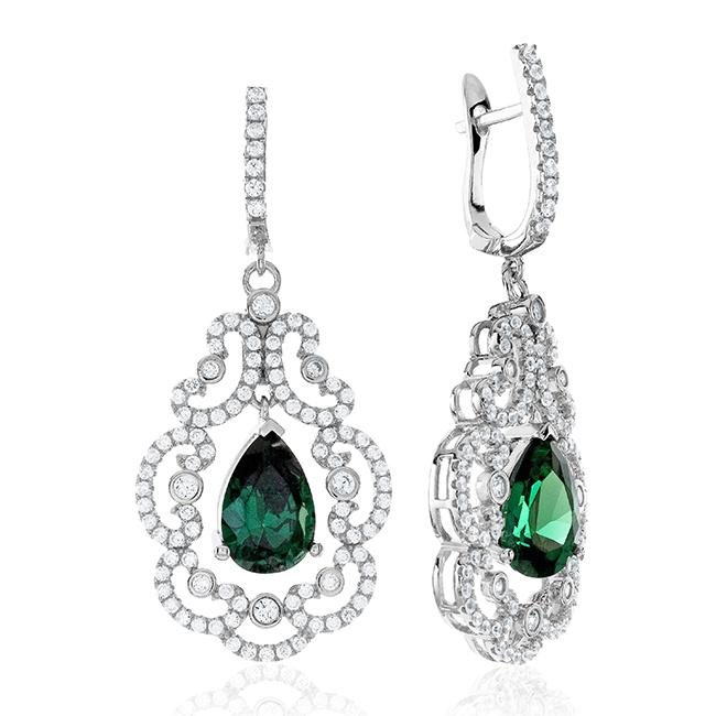 Sterling Silver Green Swarovski Zirconia Pavé Drop Earrings