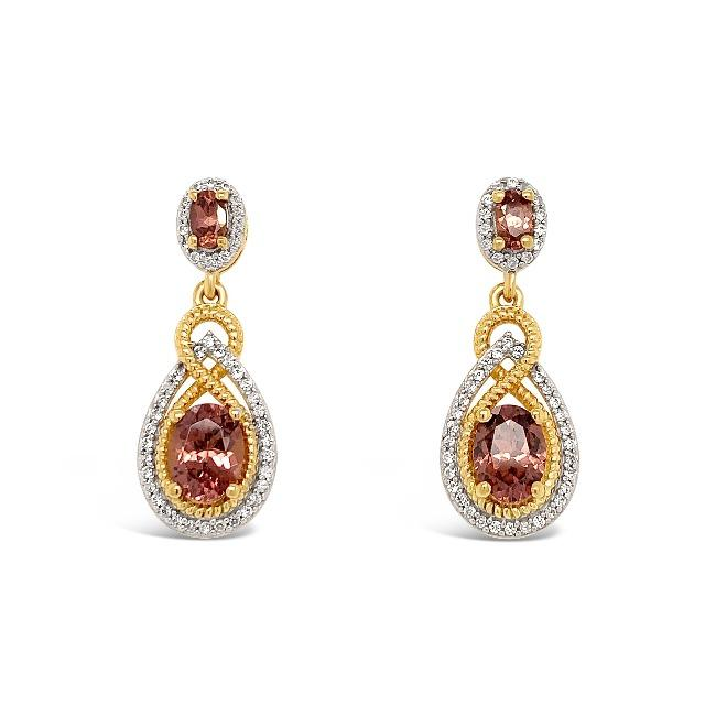 4.41 Carat Mocha & White Zircon Dangle Earrings in 18K Yellow Gold-Plated Strerling Silver