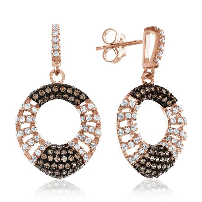 Champange & White Swarovski Zirconia Earrings In Rose Gold Over Sterling Silver