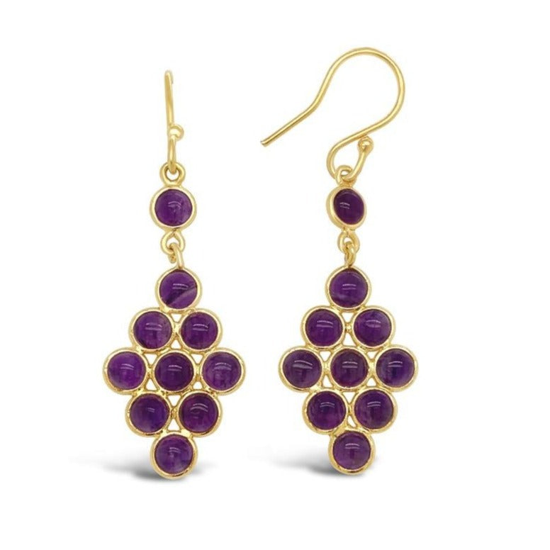 5.00 Carat Genuine Amethyst Drop Earrings in Yellow Gold-Plated Sterling Silver