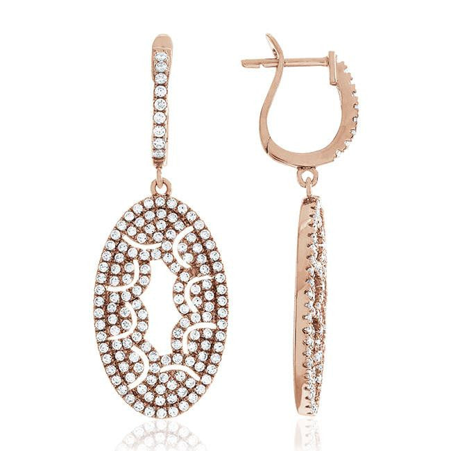 Rose Gold Over Silver Swarovski Zirconia Pave Dangle Earrings