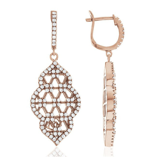 Rose Gold Over Sterling Silver Swarovski Zirconia Pavé Unique Dangle Earrings