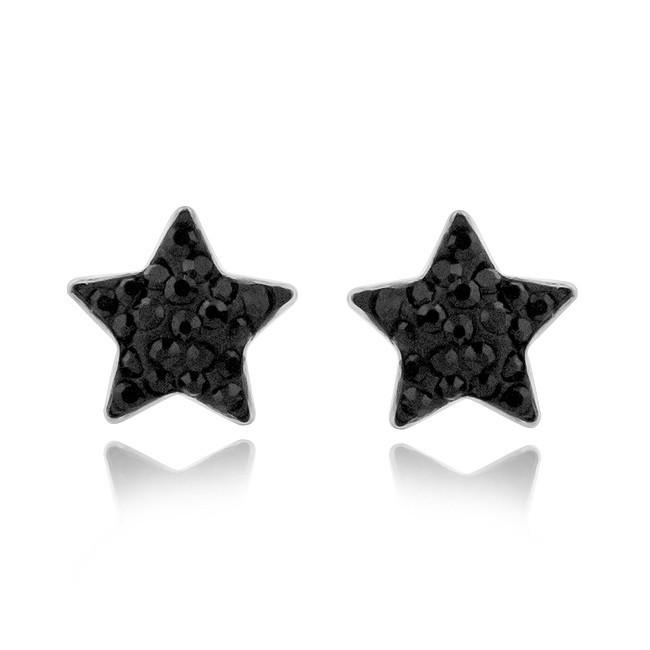 Black Crystal Star Stud Earrings in Stainless Steel