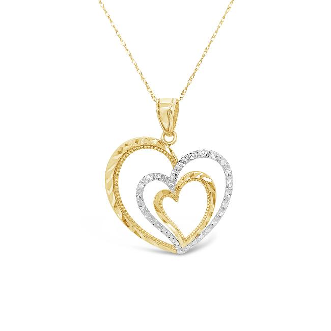 10K Two-Tone Gold Triple Heart Pendant - 18""
