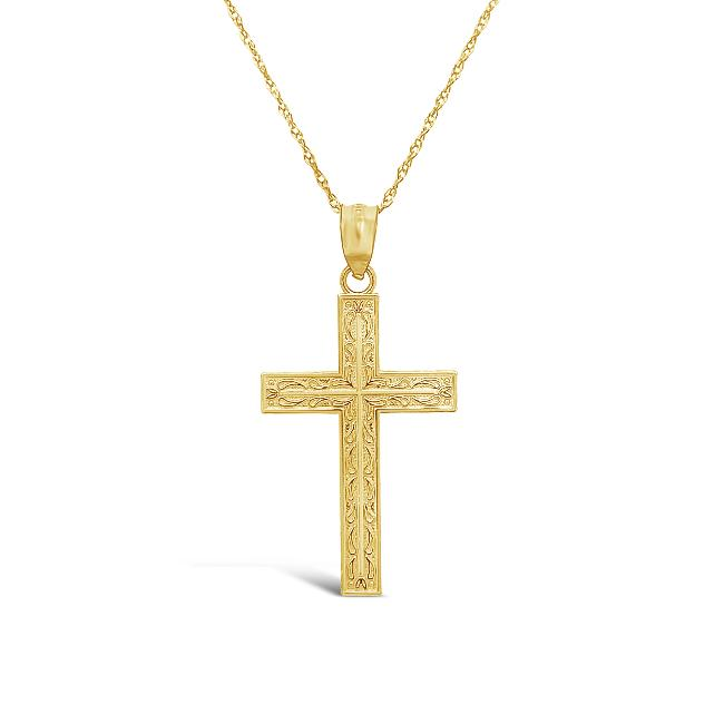 10K Yellow Gold Cross Pendant - 18""