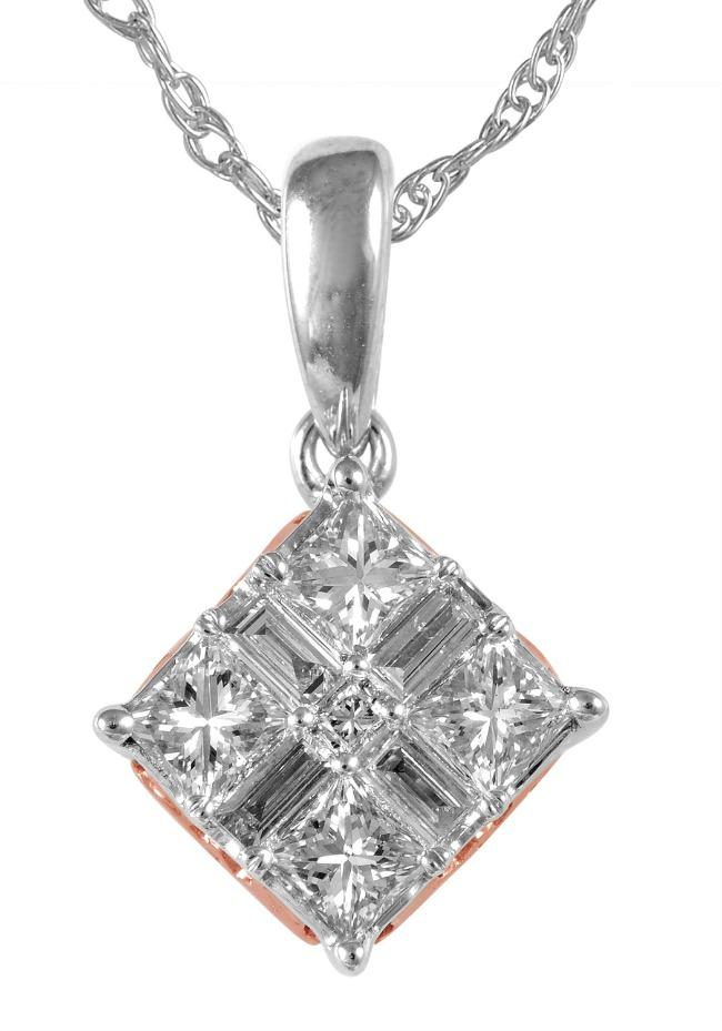 "0.40 Carat Quad Princess-Cut Diamond Pendant in Two-Tone 14K Gold -18"" (GH-SI)"