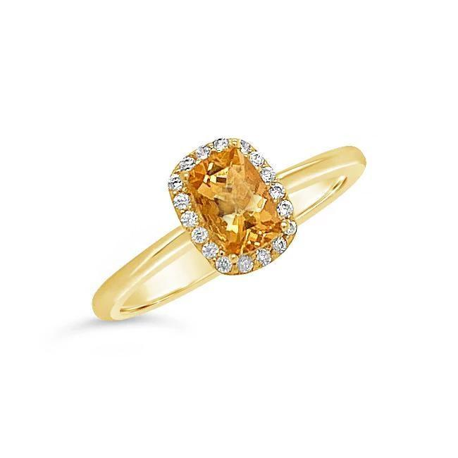 1/2 Carat Genuine Imperial Topaz Ring in 14K Yellow Gold