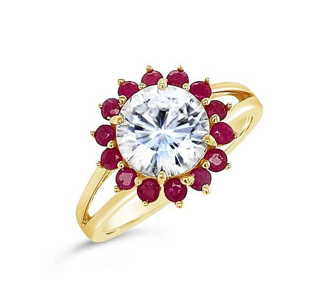 1.90 Carat Moissanite & Genuine Ruby Ring in 14K Yellow Gold