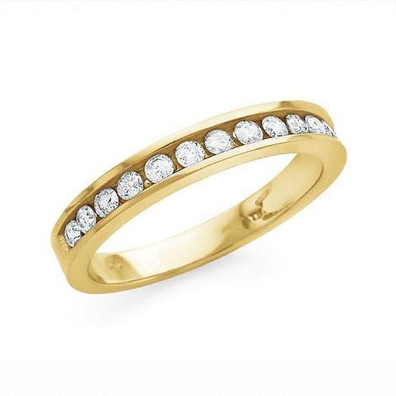 1/4 Carat Round Diamond Channel Set Band in 10K Yellow Gold (I-J/I2-I3)