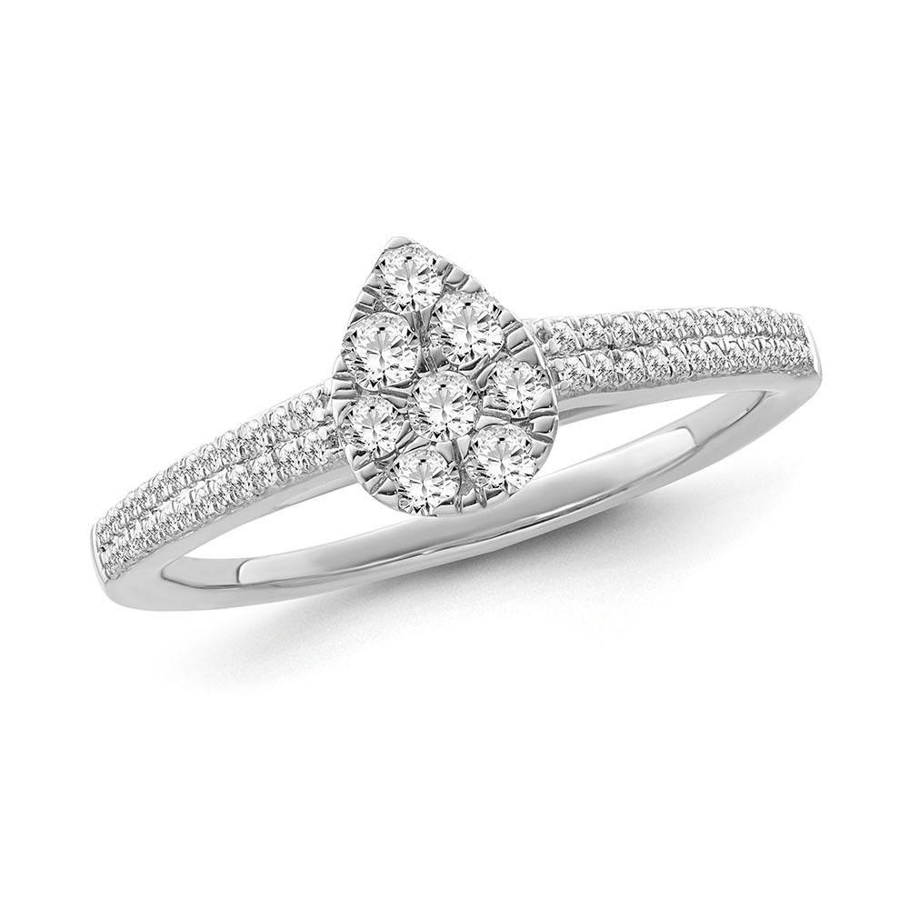 1/3 Carat Diamond Pear Shaped Cluster Ring in 10K White Gold