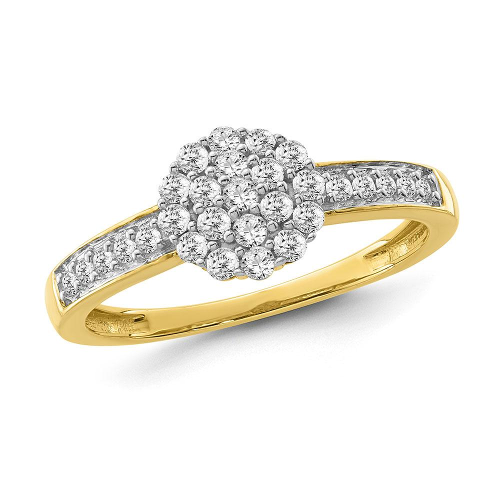 1/2 Carat Diamond Flower Cluster Ring in 10K Yellow Gold