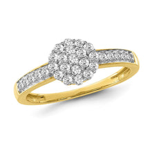 Load image into Gallery viewer, 1/2 Carat Diamond Flower Cluster Ring in 10K Yellow Gold