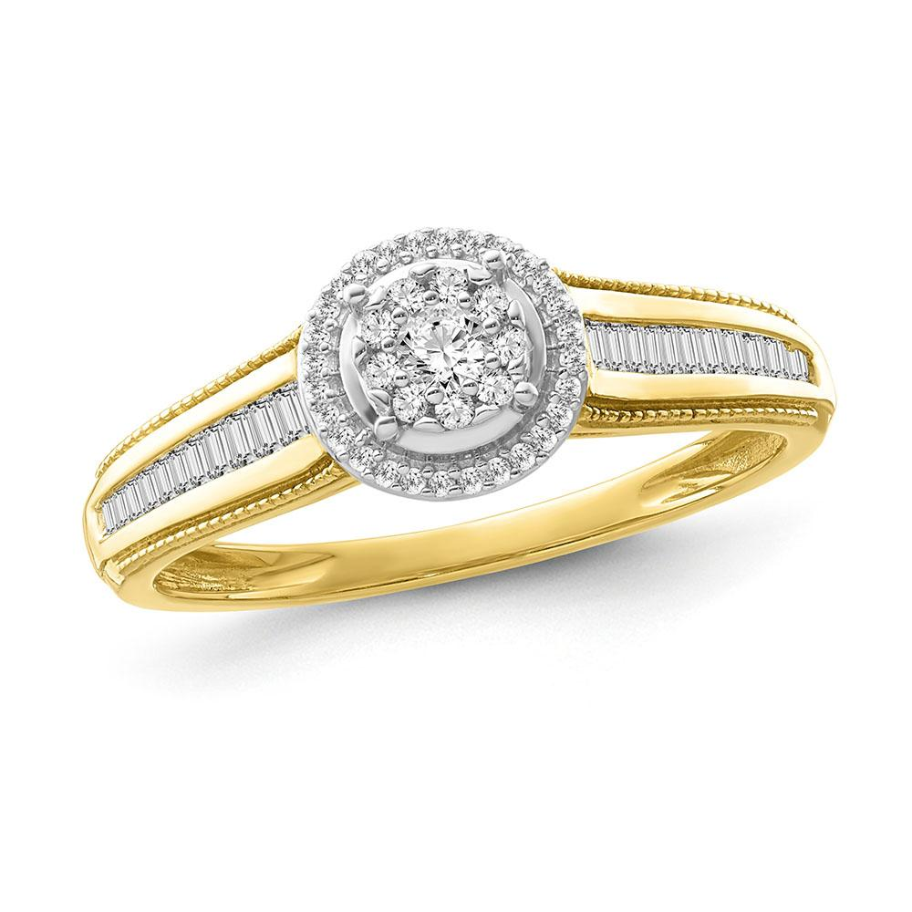 1/3 Carat Diamond Halo Cluster Engagement Ring in 10K Yellow Gold