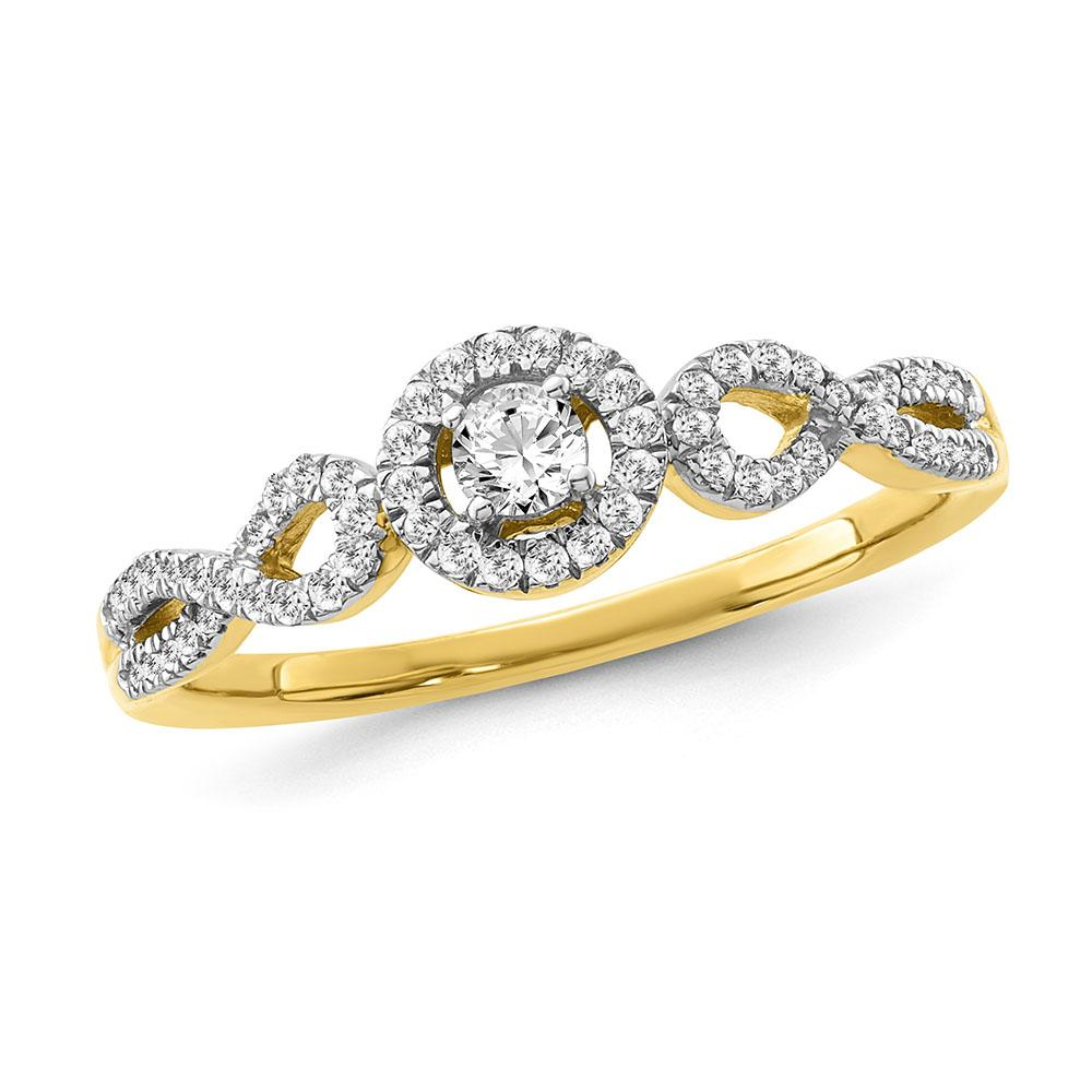 1/4 Carat Diamond Engagement Ring in 10K Yellow Gold