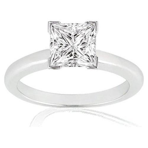 1.00 Carat Princess Cut Solitaire Diamond Ring in 14K White Gold (I-J;I2-I3)