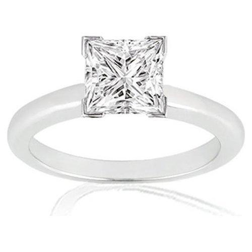3/4 Carat Princess Cut Solitaire Diamond Ring in 14K White Gold (H-I;I2)