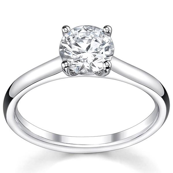 1.00 Carat Round Cut Solitaire Diamond Ring in 14K White Gold (I-J;I2-I3)