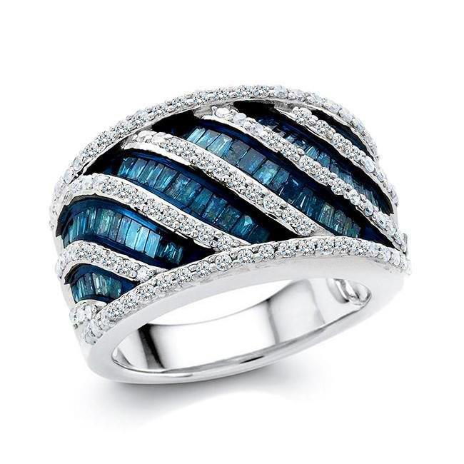1.50 Carat Blue & White Diamond Ring in Sterling Silver