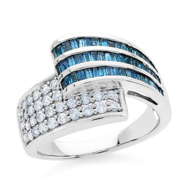 1.00 Carat Blue and White Diamond Wrap Ring in Sterling Silver