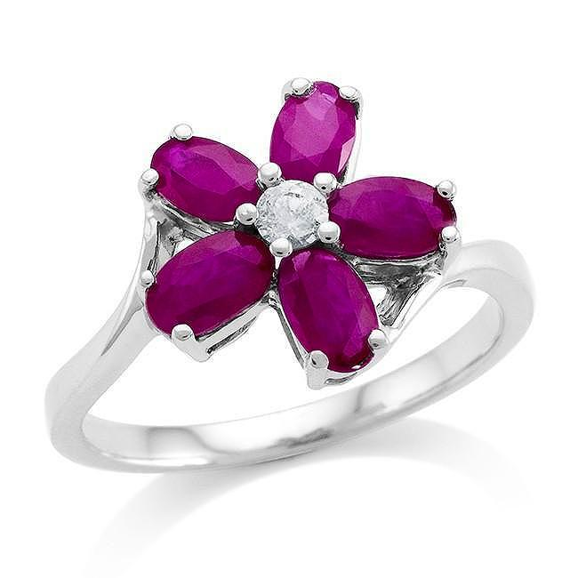 1.60 Carat Genuine Ruby & White Sapphire Flower Ring in Sterling Silver