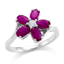 Load image into Gallery viewer, 1.50 Carat Genuine Ruby & White Sapphire Flower Ring in Sterling Silver