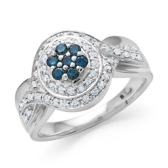 1/2 Carat Blue & White Diamond Ring in Sterling Silver