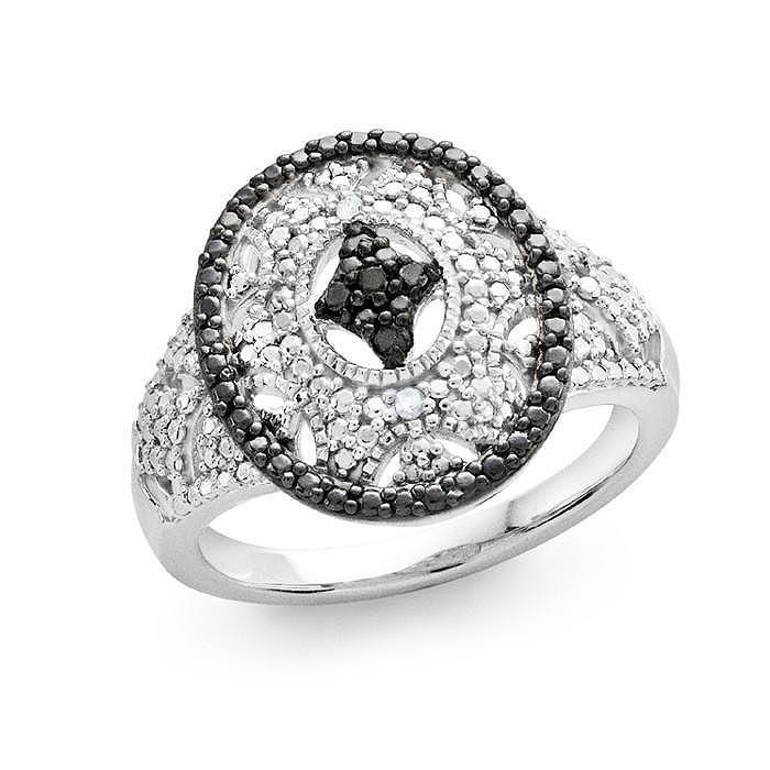 Designer Vintage-look Diamond Ring in Sterling Silver