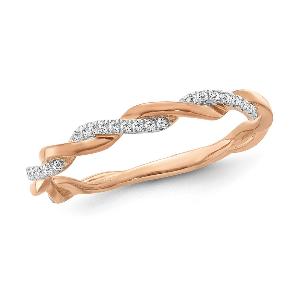 Diamond Accent Fashion Twisted Band in Rose Gold-Plated Sterling Silver