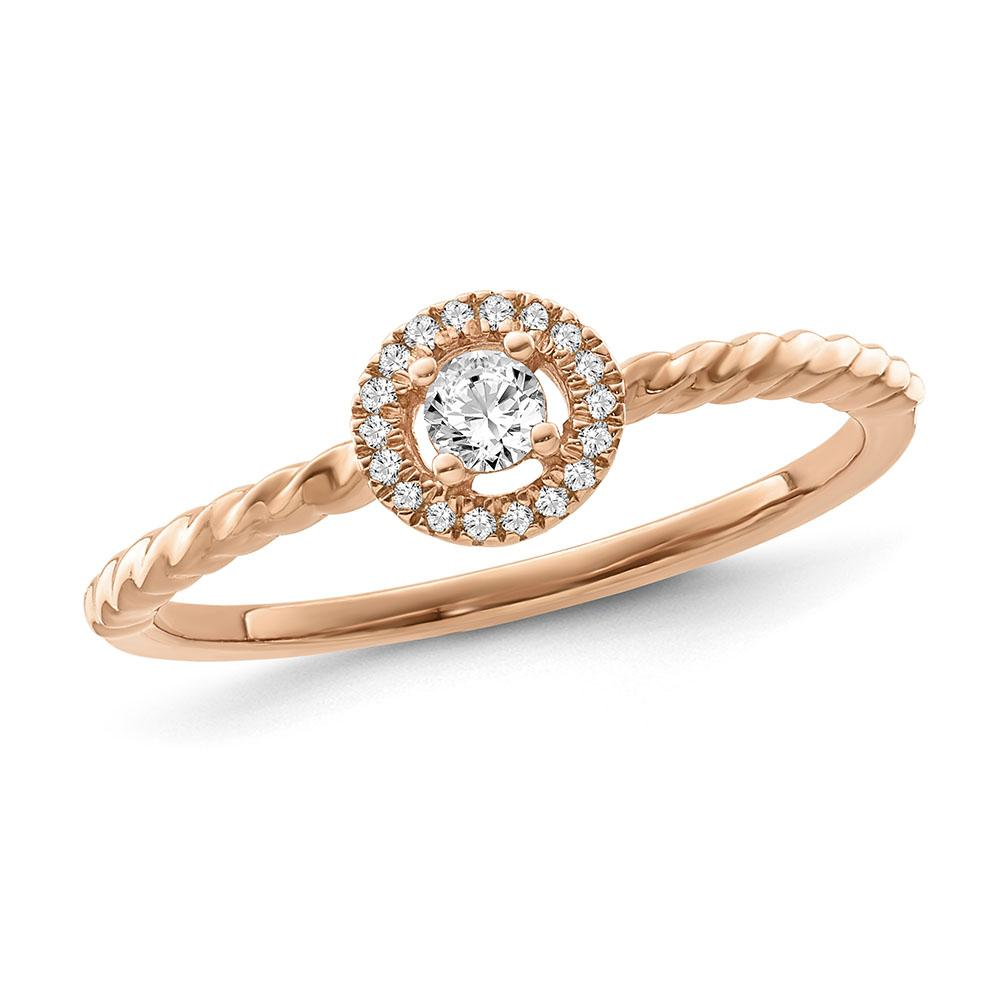 1/8 Carat Diamond Halo Diamond Ring in Rose Gold-Plated Sterling Silver