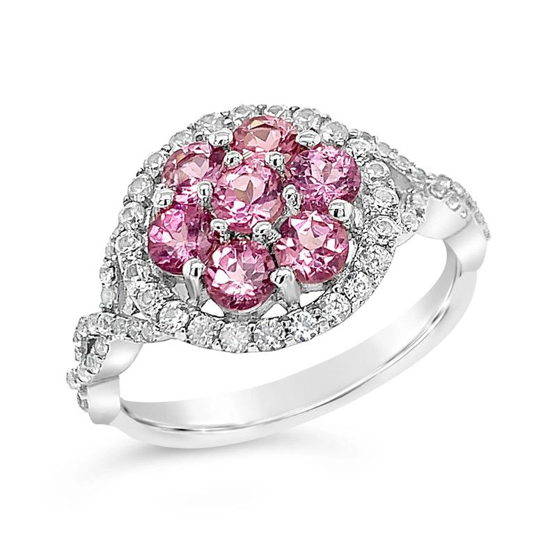 0.40 Carat Genuine Pink Garnet & White Zircon Ring in Sterling Silver