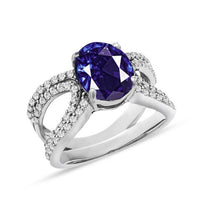 Load image into Gallery viewer, 3.50 Carat Genuine Tanzanite & White Zircon Fashion Ring in Sterling Silver