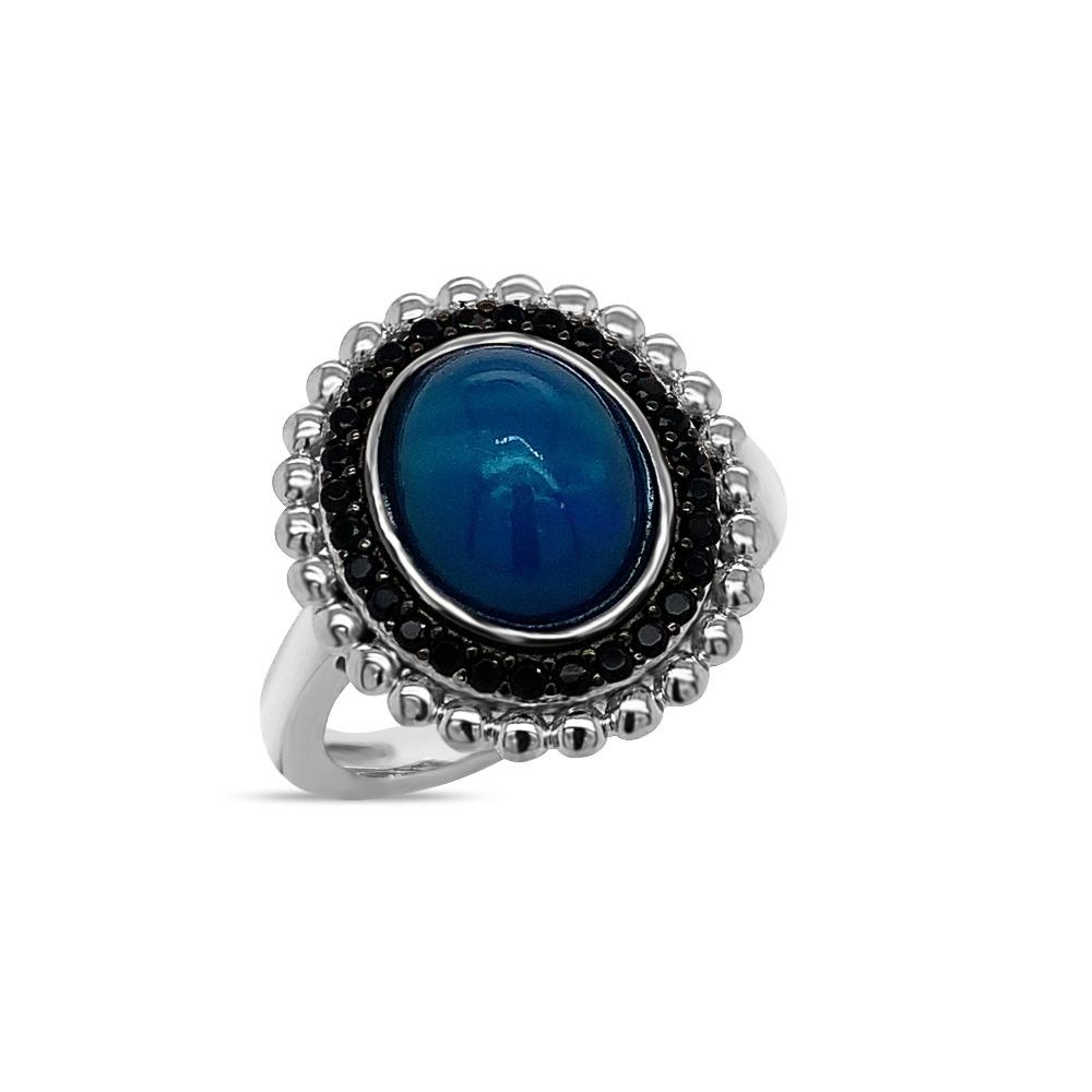 2.00 Carat Genuine Blue Opal & Black Spinel Ring in Sterling Silver