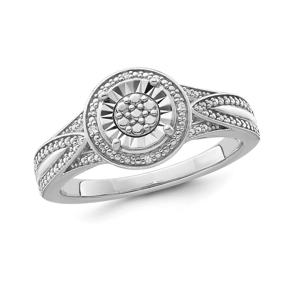 1/4 Carat Diamond Designer Ring in Sterling Silver