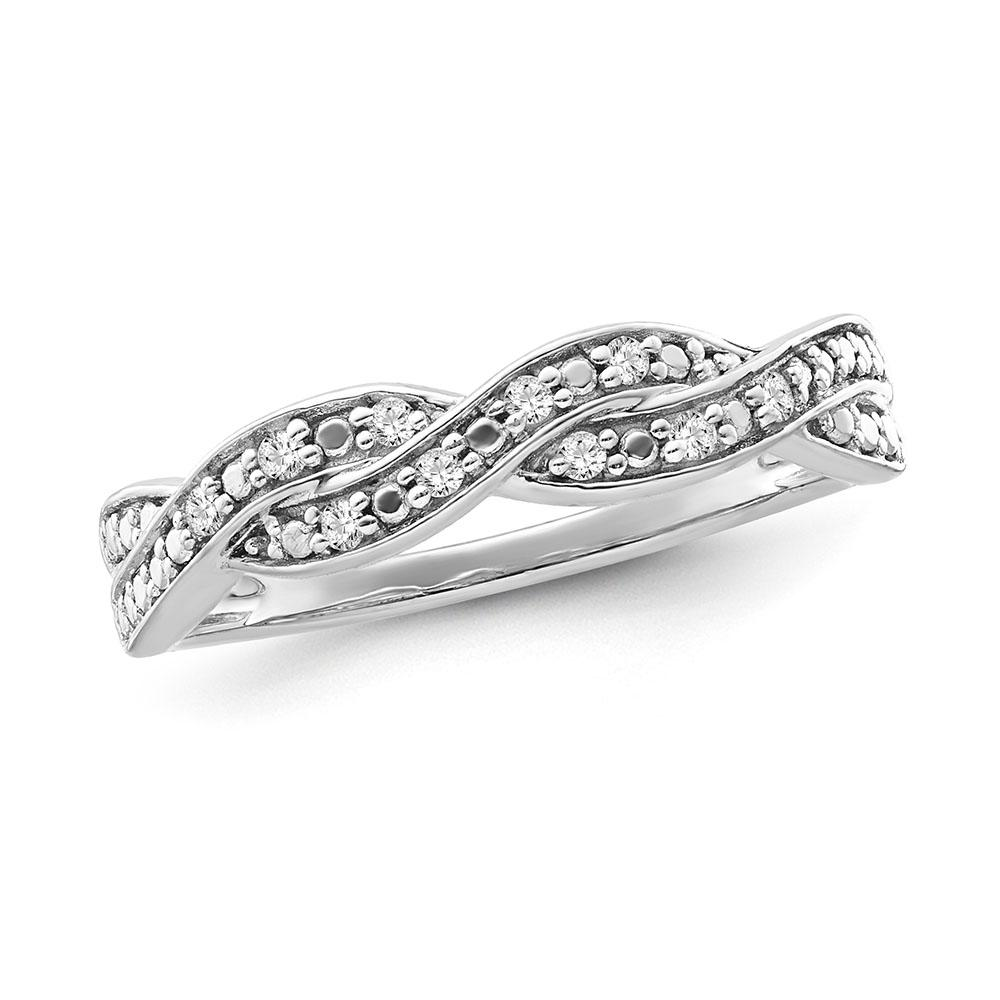 Diamond Accent Weave Ring in Sterling Silver