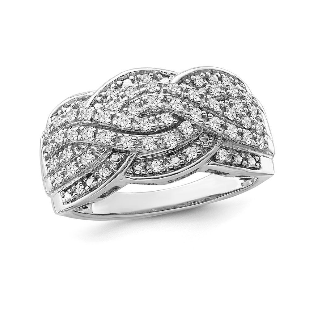 1/2 Carat Diamond Waves Ring in Sterling Silver