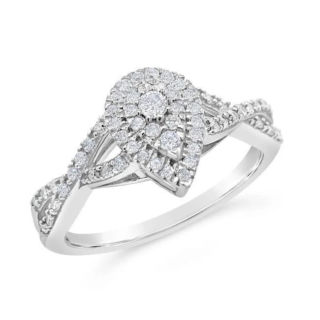 1/3 Carat Diamond Pear Shaped Cluster Ring in Sterling Silver