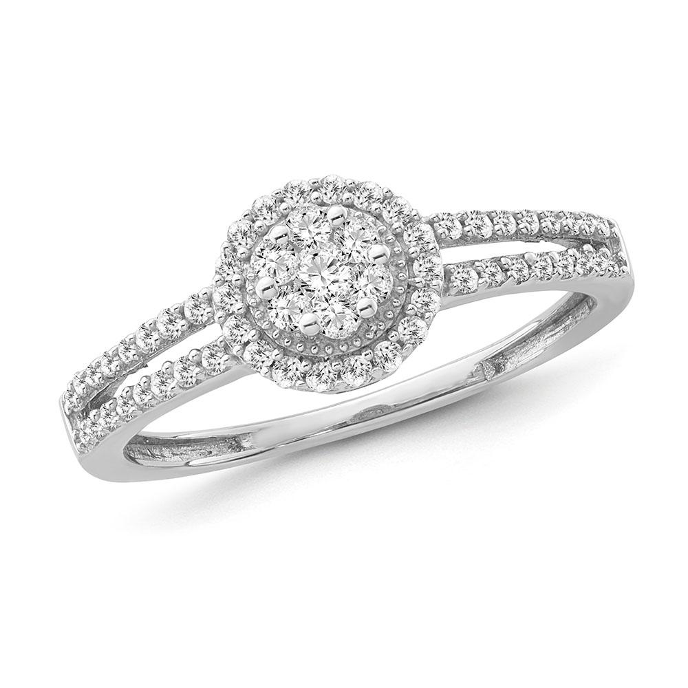 1/3 Carat Diamond Halo Cluster Ring in Sterling Silver
