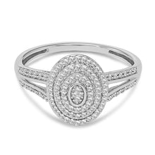 Load image into Gallery viewer, 1/5 Carat Diamond Oval Cluster Ring in Sterling Silver