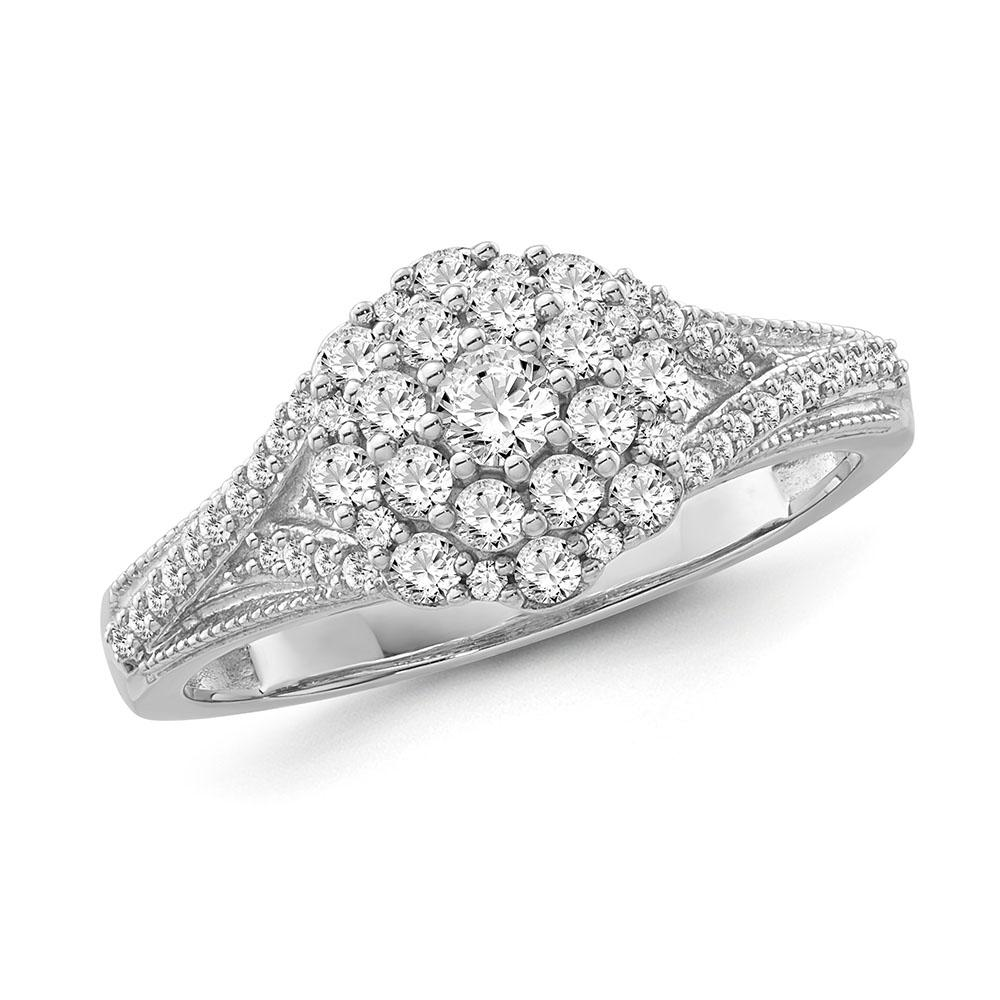 1/2 Carat Diamond Flower Cluster Ring in Sterling Silver