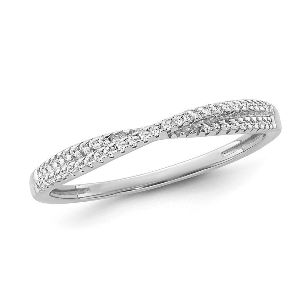 1/10 Carat Diamond Criss Cross Band in Sterling Silver
