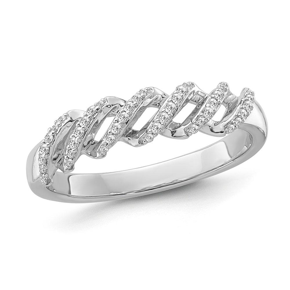 1/10 Carat Diamond Wave Ring in Sterling Silver