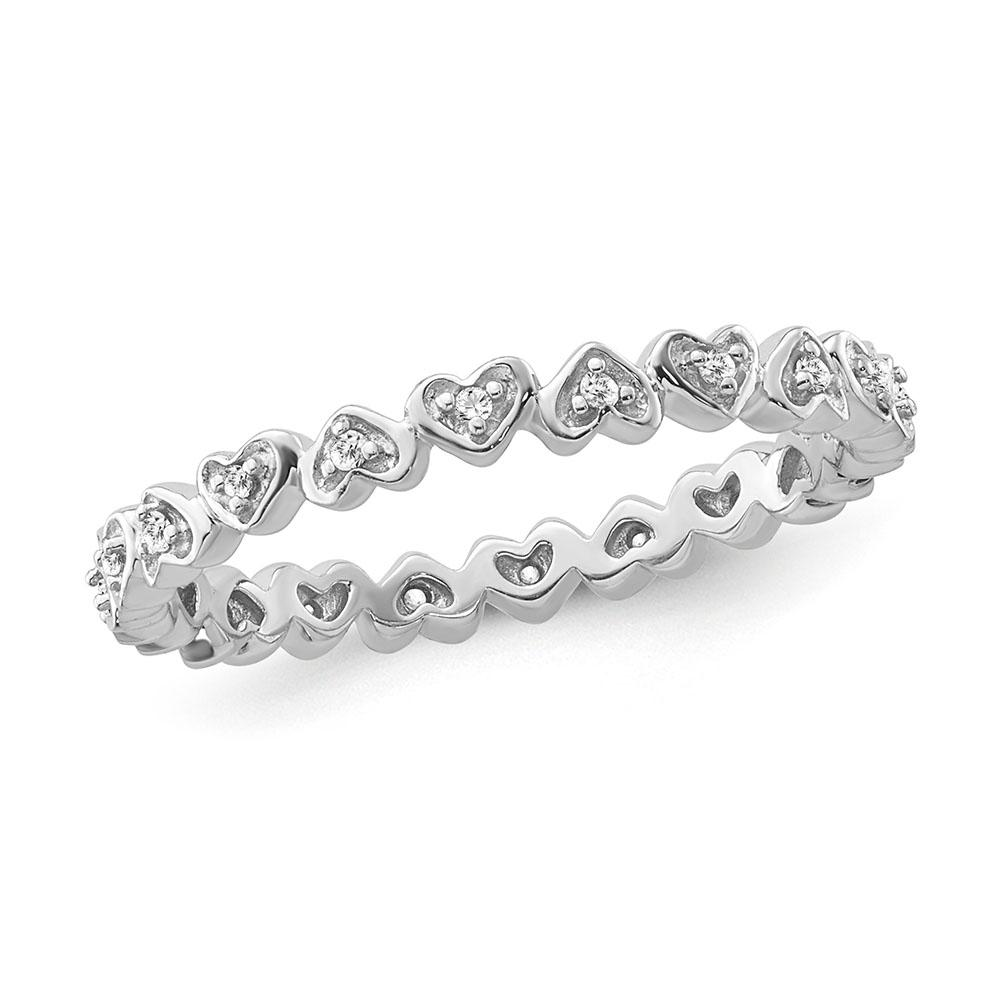 1/10 Carat Diamond Heart Band in Sterling Silver