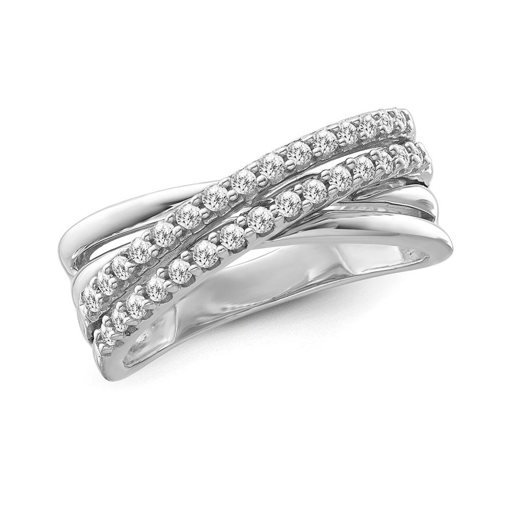 1/3 Carat Diamond Crossover Band in Sterling Silver