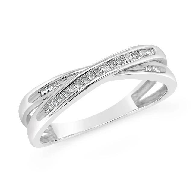 Channel-Set Diamond Crossover Ring in Sterling Silver