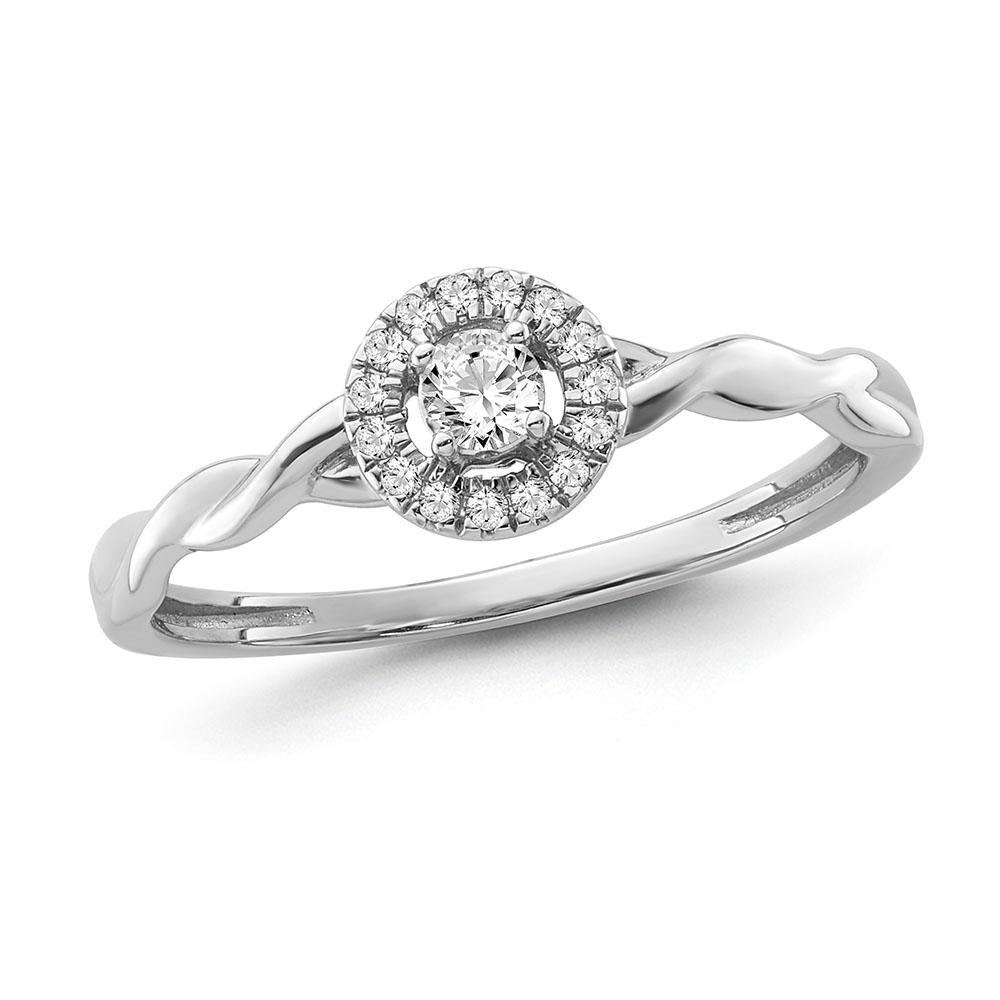 1/6 Carat Diamond Halo Twist Ring in Sterling Silver