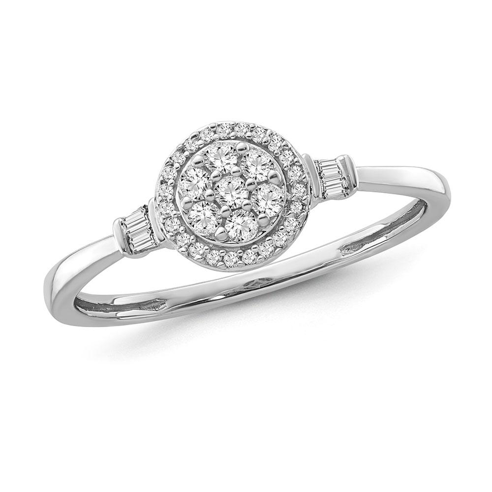 1/5 Carat Diamond Halo Cluster Ring in Sterling Silver
