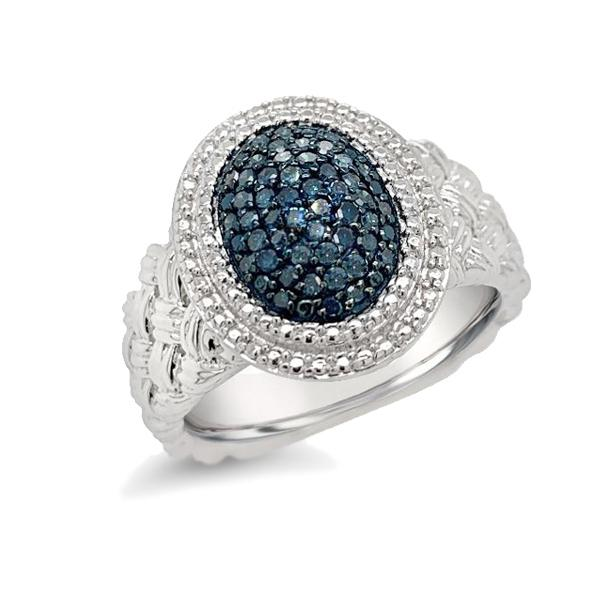 1/4 Carat Blue Diamond Oval Ring in Sterling Silver